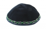 Hand Decorated Velvet Kippah with green and silver border