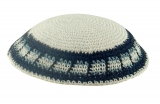 White handmade knitted kippah With Blue And Grey Border