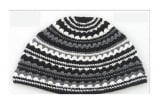 Premium DMC Frik Kippah Black, Grey and White Stripes