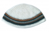 Premium DMC Frik Kippah With Gray and Brown Stripes
