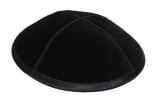 LEATHER KIPPAH   BLACK, WITH RIM