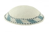 White handmade knitted kippah With light blue edging