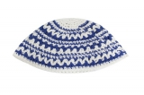 Blue And White Geometric Design Frik Kippah
