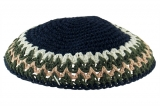 Blue and Olive Knitted Kippah