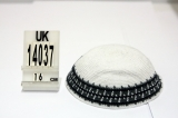 White DMC knitted kippah with dark gray and brown border