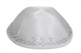 White Terylene Kippah with silver border design
