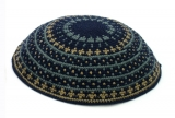 Blue Colorful DMC knitted Kippah