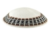 White Knitted DMC Kippah with green and light blue rim