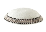 White Knitted DMC Kippah with tan, black and white squares