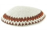 White Knitted Kippah with brown border
