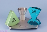 Aluminum Havdalah Set by Shraga Landesman in Green and Blue
