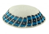 White handmade knitted kippah With Royal Blue And Black Border