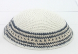 White knitted Kippah with black and yellow stripes