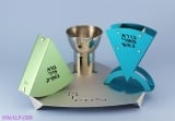 Aluminum Havdalah Set by Shraga Landesman with Nickel Silver Cup