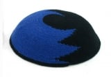 Black & Blue DMC knitted Kippah