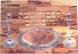 Wood Challah board with knife   Candlestick design