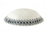 White Knitted DMC Kippah   Gray Blue Black Rim