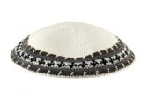 White Knitted DMC Kippah with olive and gray border