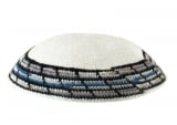 White Knitted DMC Kippah with border in shades of gray and blue