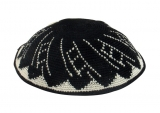 Black and white DMC knitted kippah