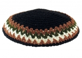 Black Knitted Kippah with brown border