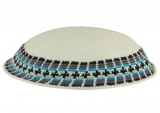 White DMC knitted kippah with dark gray and blue border