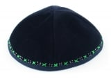 Hand Decorated Green and White Velvet Kippah