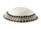 White Knitted DMC Kippah   Gray and tan diagonal border