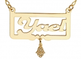 Gold Filled English Name Necklace with Hamsa