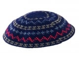 Blue DMC knitted kippah with colorful design