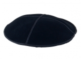 Premium Black Suede Kippah with attached clip