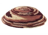 Knitted Kippah in shades of brown