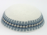 White DMC knitted Kippah with blue gray border