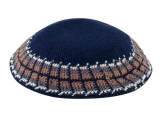 Navy Knitted DMC Kippah   wide gray, tan and olive design
