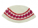 White Frik Kippah with pink and red border