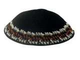 Black handmade knitted kippah With Brown White Grey Border