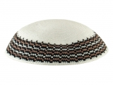 White Knitted DMC Kippah   Brown Black Rim