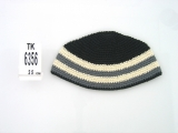 Black Frik Kippah with two beige stripes
