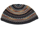 Premium DMC Frik Kippah with Gray, Beige and Light Blue Stripes
