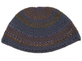 Premium DMC Frik Kippah with Slate Gray and Khaki Stripes