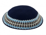 Navy Knitted DMC Kippah with geometric olive and light blue border