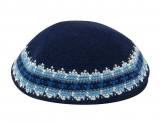 Navy Knitted DMC Kippah with lively blue border shades