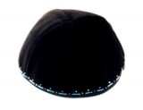 Hand Decorated Blue and Silver Kippah