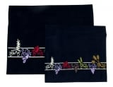 Navy velvet Tallit and Tefillin Bag Set   Seven Species