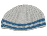 White Frik Kippah with Royal blue Stripes
