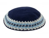 Navy Knitted DMC Kippah   Light Blue and Gray