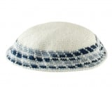 White Knitted DMC Kippah   Diagonal shades of blue