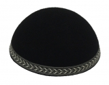 Yemenite Kippah with silver bronze leaf border
