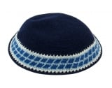Navy and Royal Blue Knitted DMC Kippah