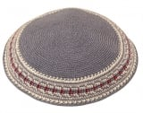 Handmade Gray DMC Knitted Kippah with maroon border